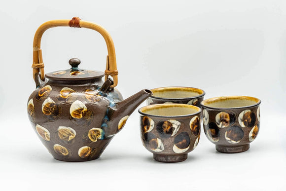 Japanese Tea Set - Brown Dobin Do-ake Teapot with 3 Yunomi Teacups - Tezumi