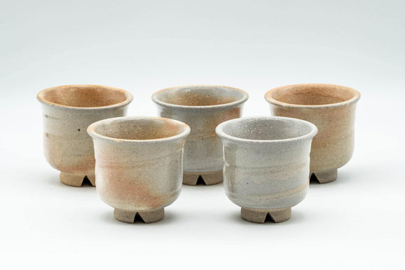 Japanese Teacups - Set of 5 Beige Textured Guinomi - 35ml - Tezumi