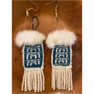 Teal & White Raven's Tail Earrings with Ermine Fur