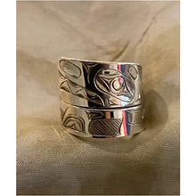 Load image into Gallery viewer, Sterling Silver Killer Whale Wrap Ring