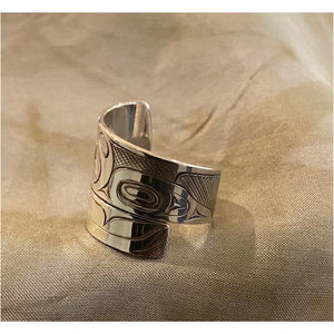Sterling Silver Killer Whale Wrap Ring