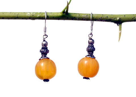Round Yellow Bead Earring - NIIRVA