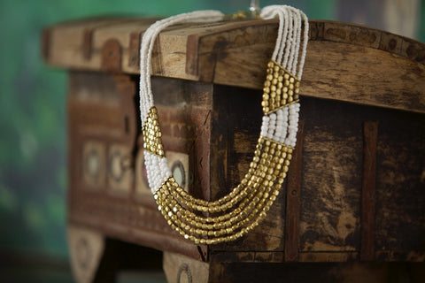 Gold Pattern Necklace - NIIRVA - 2
