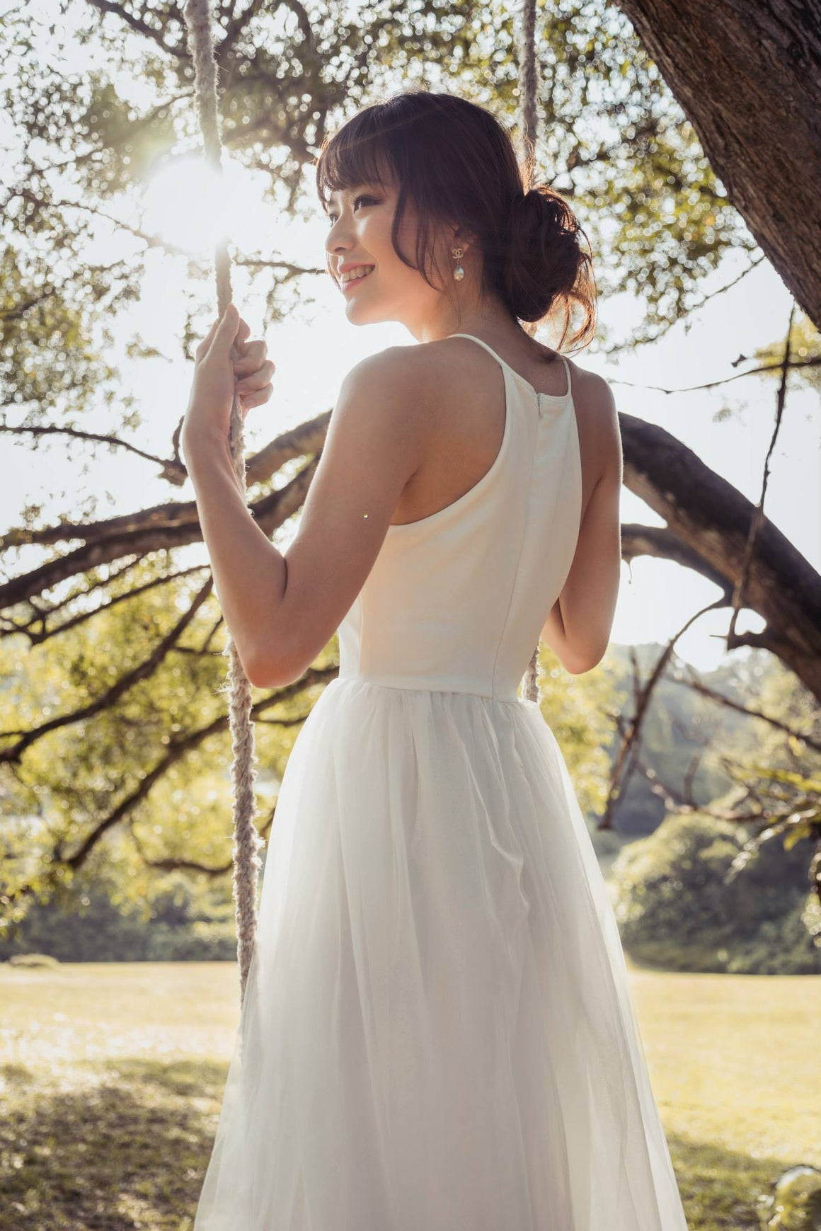Midsummer's Night Tulle Dress In White