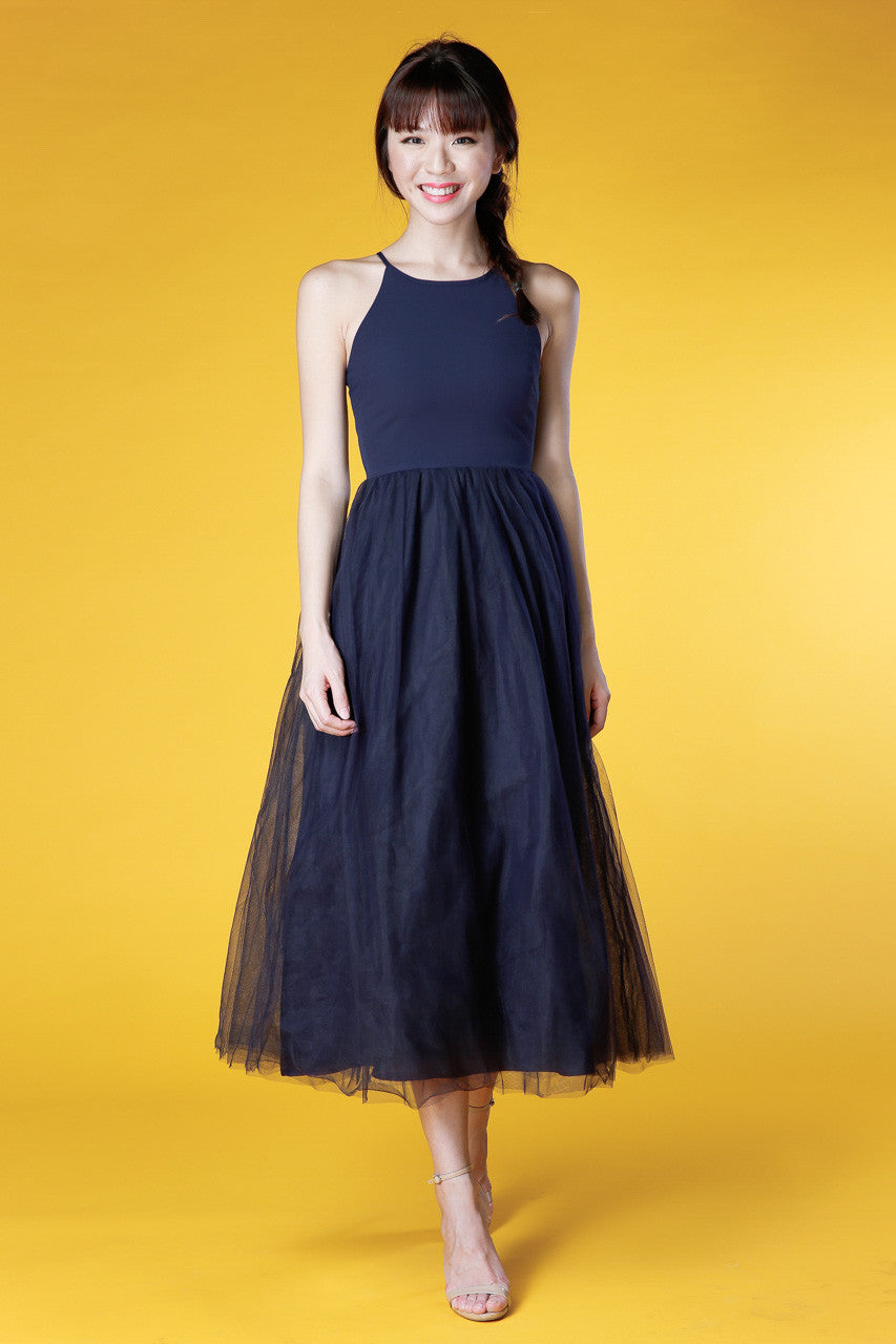 Shakespeare In Love Tulle Maxi Dress in Navy