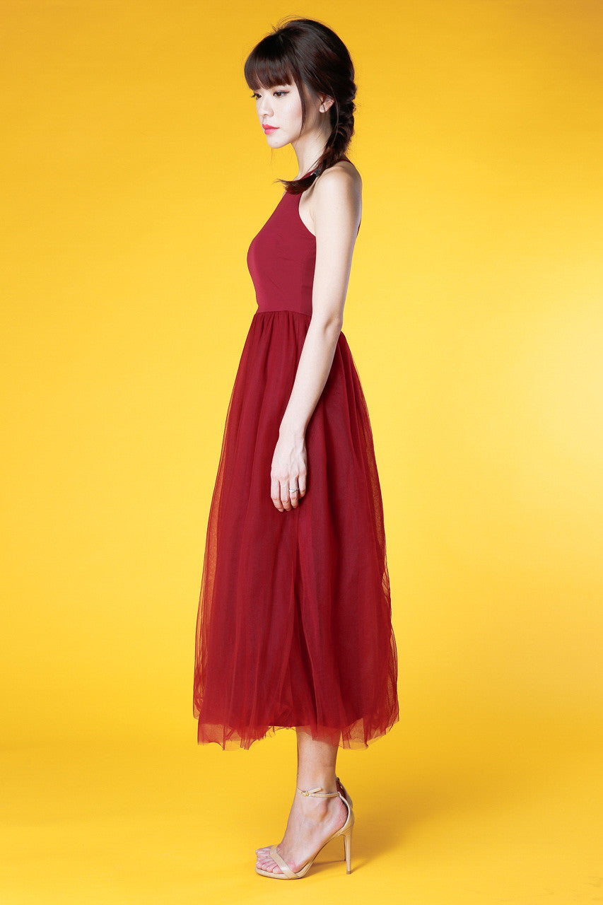 Shakespeare In Love Tulle Maxi Dress in Wine