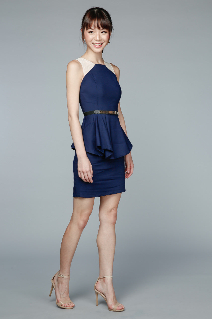 Restocked* Sofia Peplum Dress in Navy
