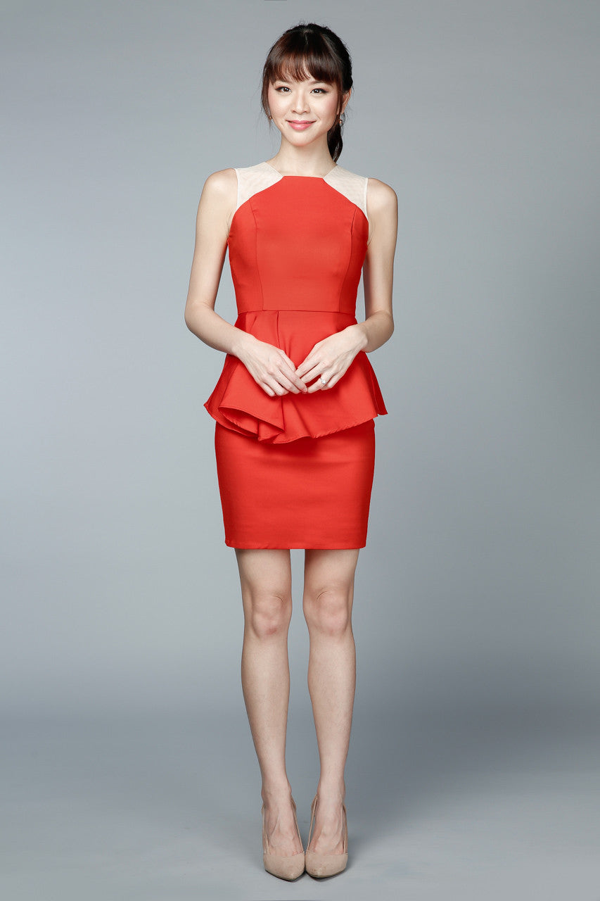 Restocked* Sofia Peplum Dress in Tangerine