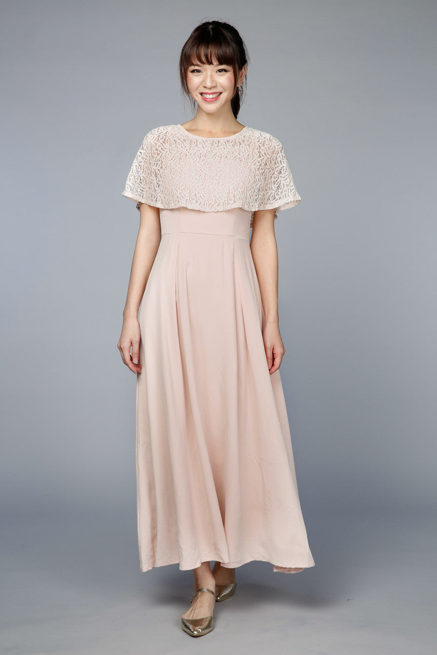 Santorini Lace Cape Maxi in Peach