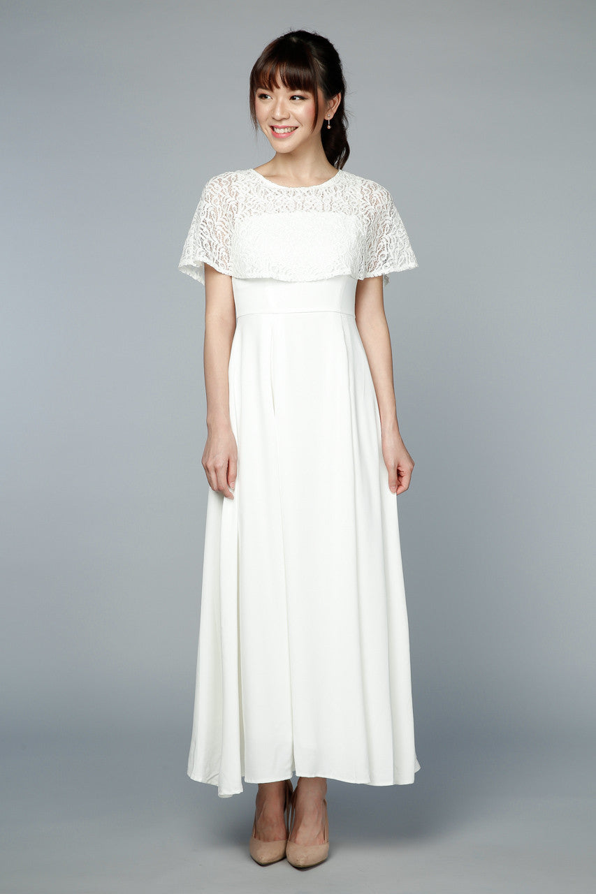 Santorini Lace Cape Maxi in White