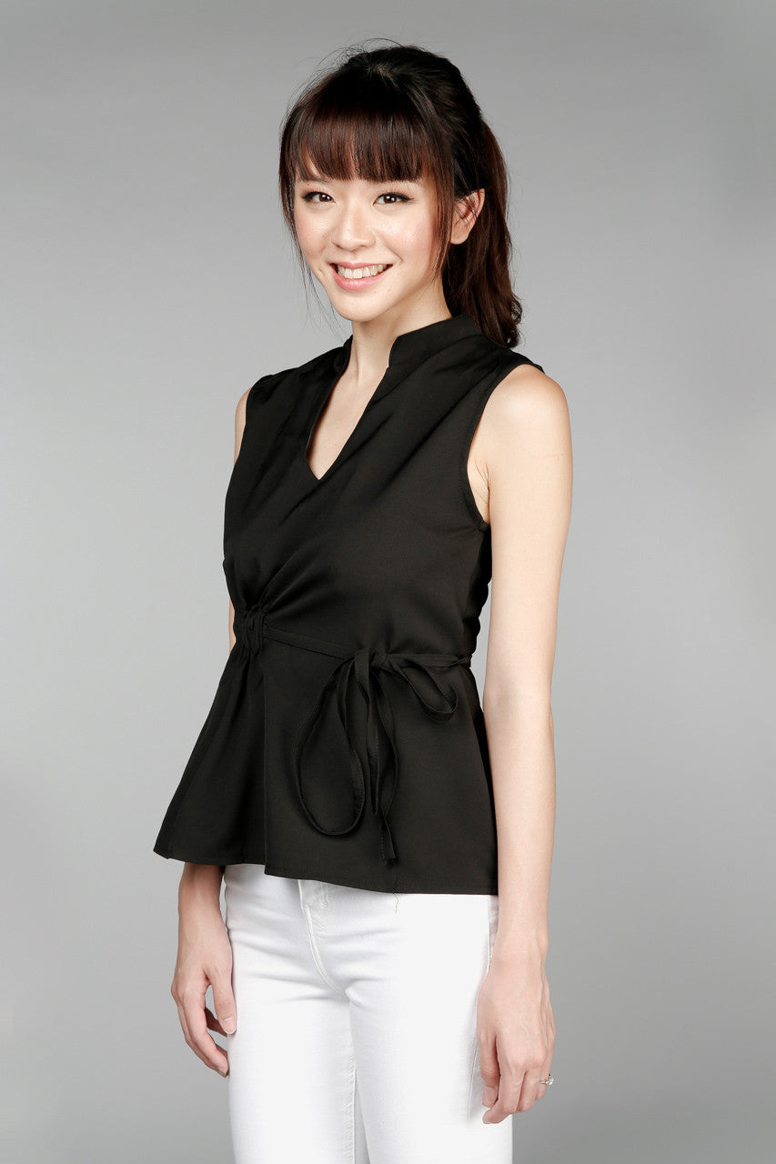 Volare Drawstring Blouse in Black
