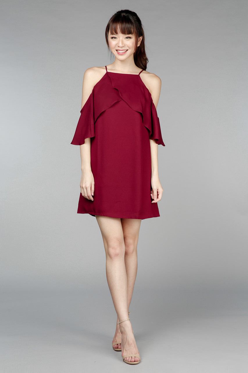 Back In Stock* All A Flutter A-Line Dress in Wine