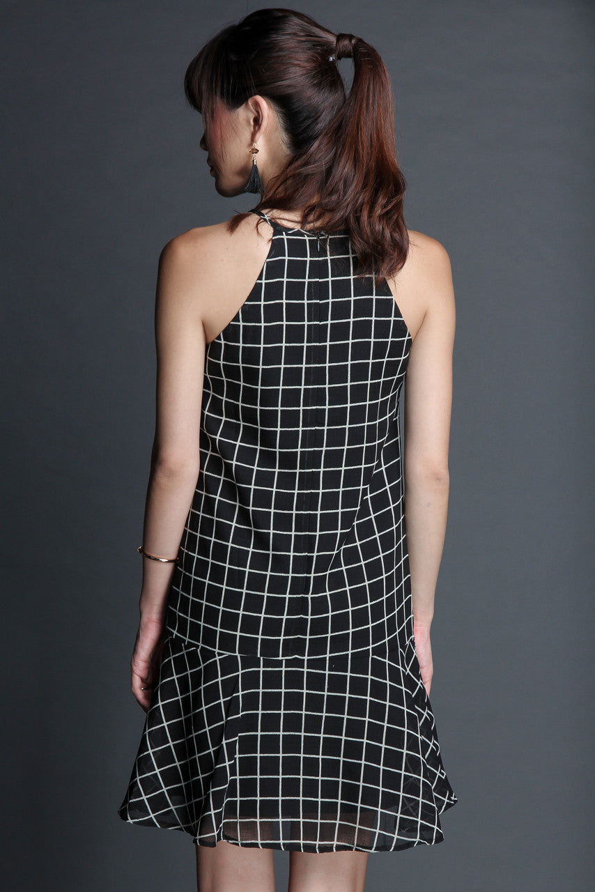 Checkmate Drop Waist Dress in Black