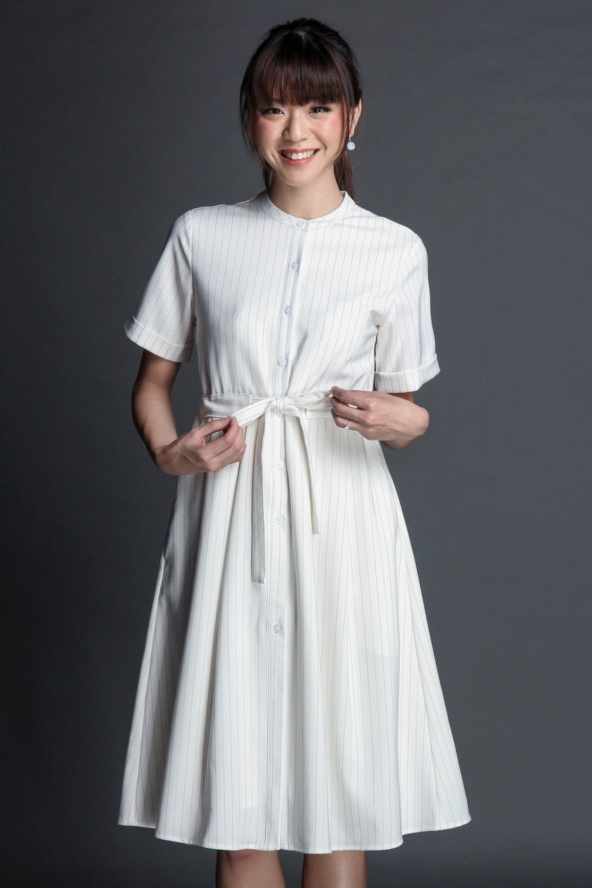 Areum Pinstriped Midi Shirt Dress in White