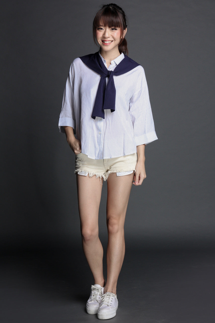 Set Sail Faux Cardigan Shirt