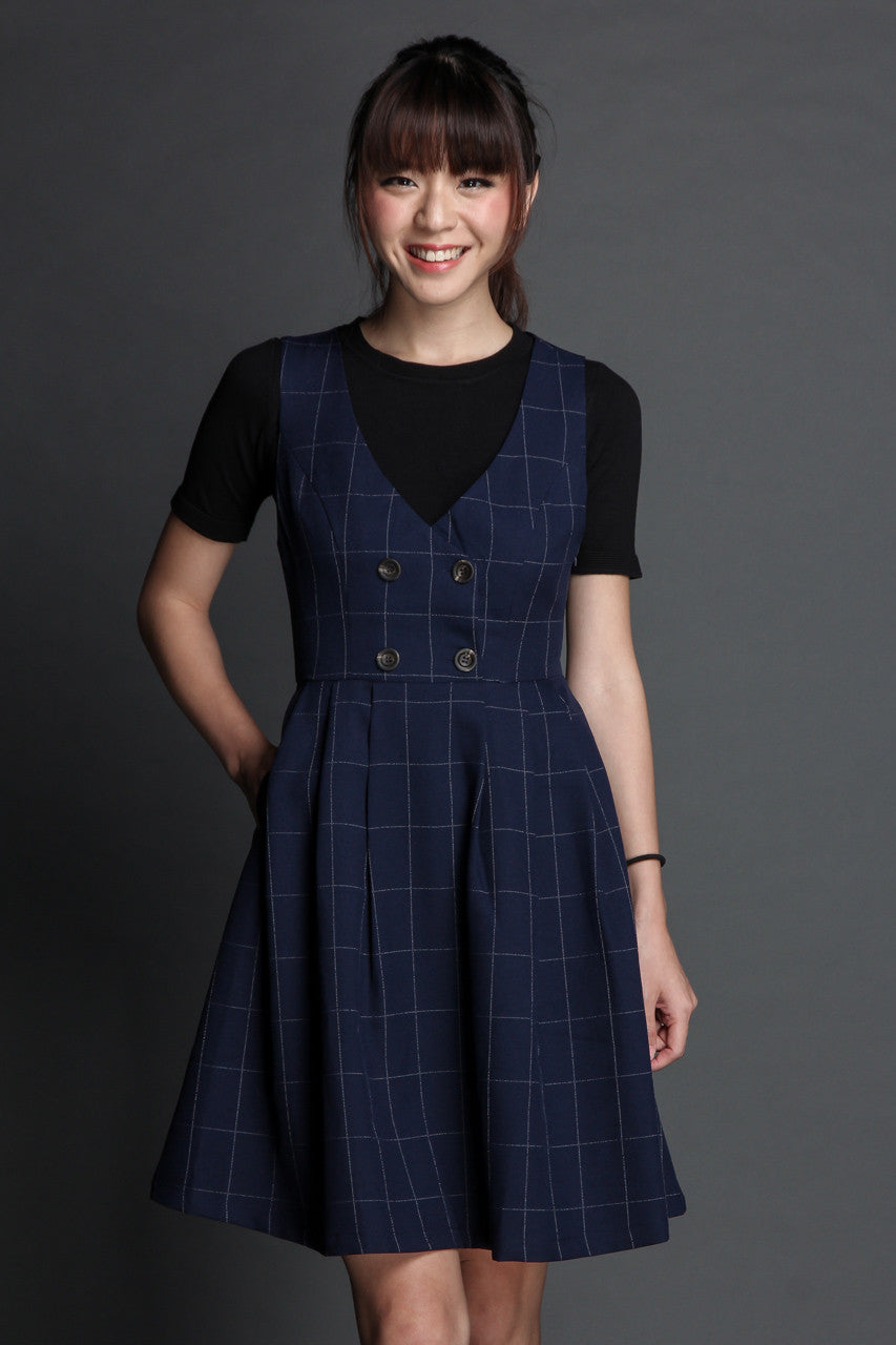 St Clare Pinafore in Navy