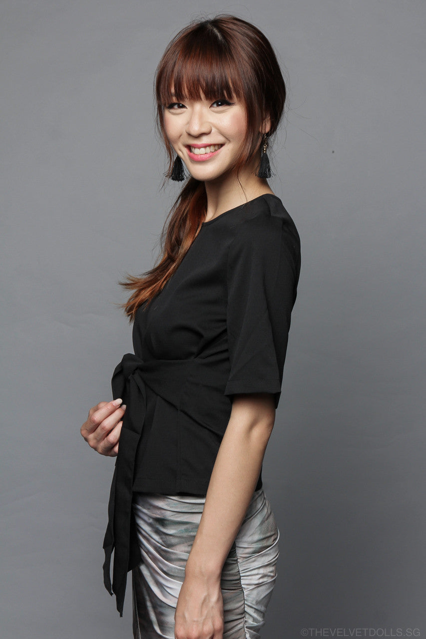 Amelie Tie Top in Black