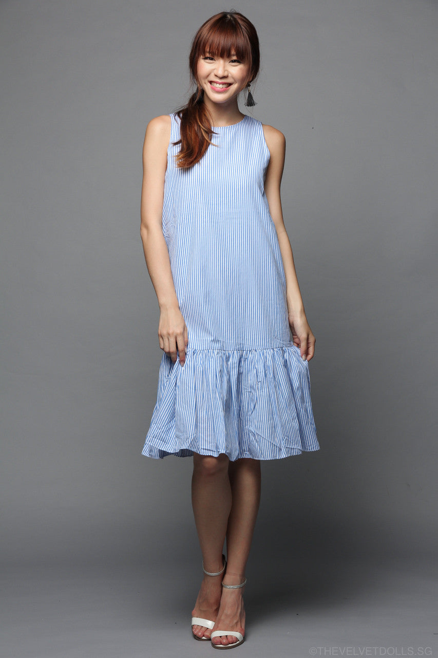 Restocked* Mayhem Midi Dress in Blue Stripes