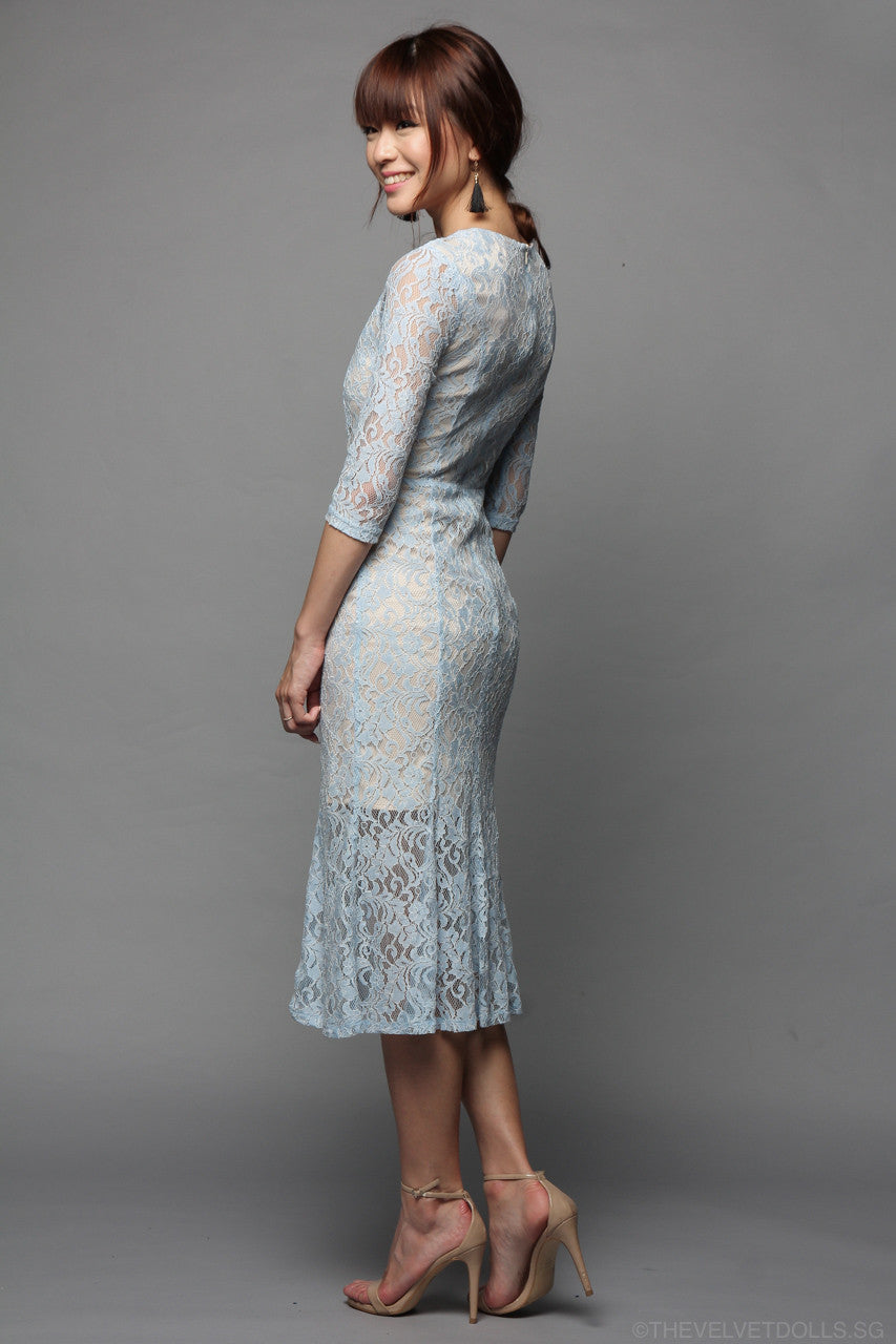 Florentine Lace Dress in Sky