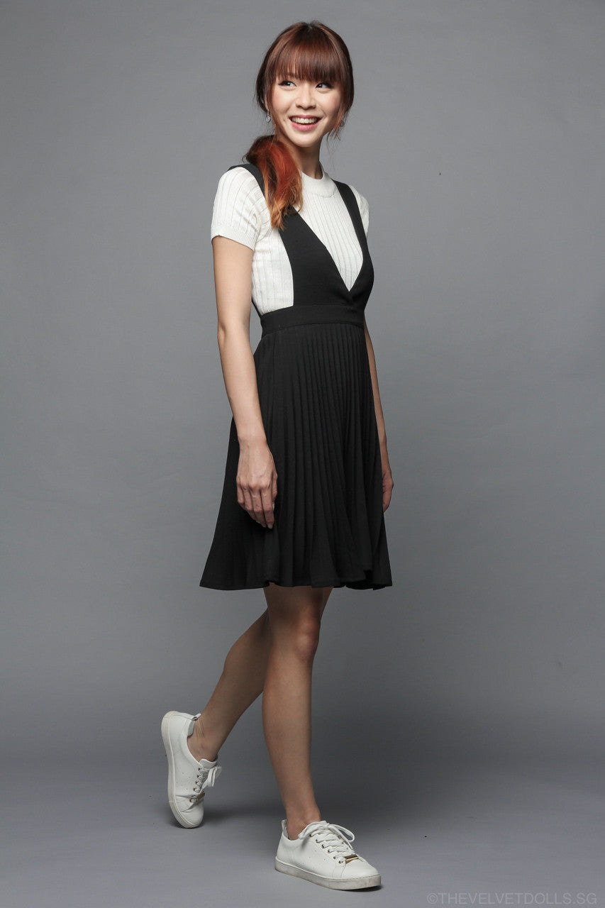 Back In Stock* Knightsbridge Pleated Pinafore in Black