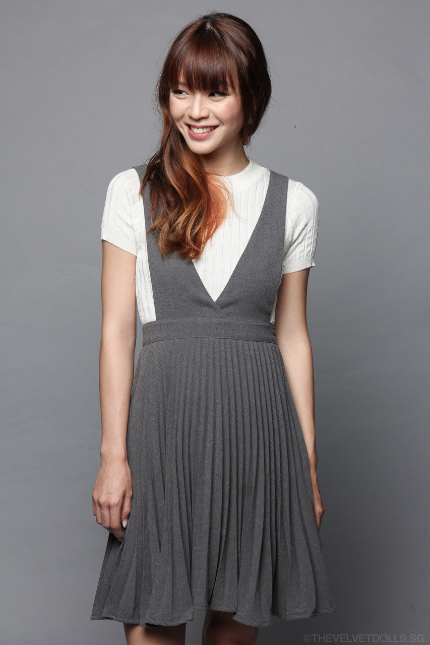 Back In Stock* Knightsbridge Pleated Pinafore in Grey