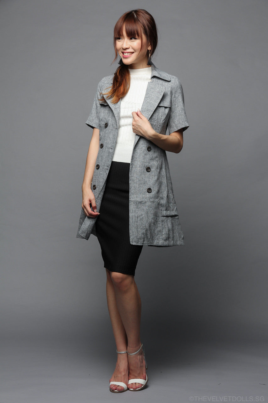 Buckingham Trench Dress in Grey