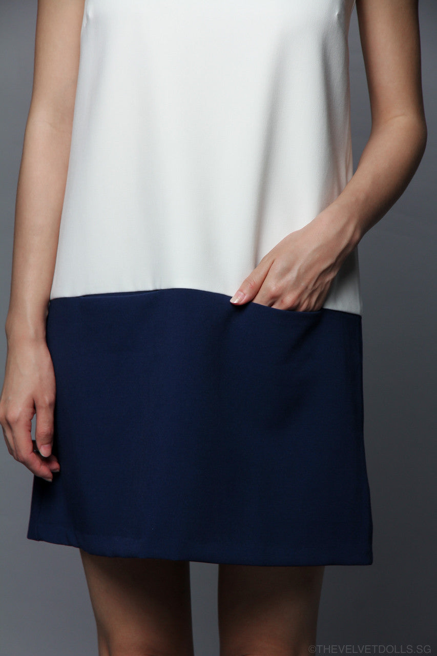 Odell Colorblock Shift Dress in Navy