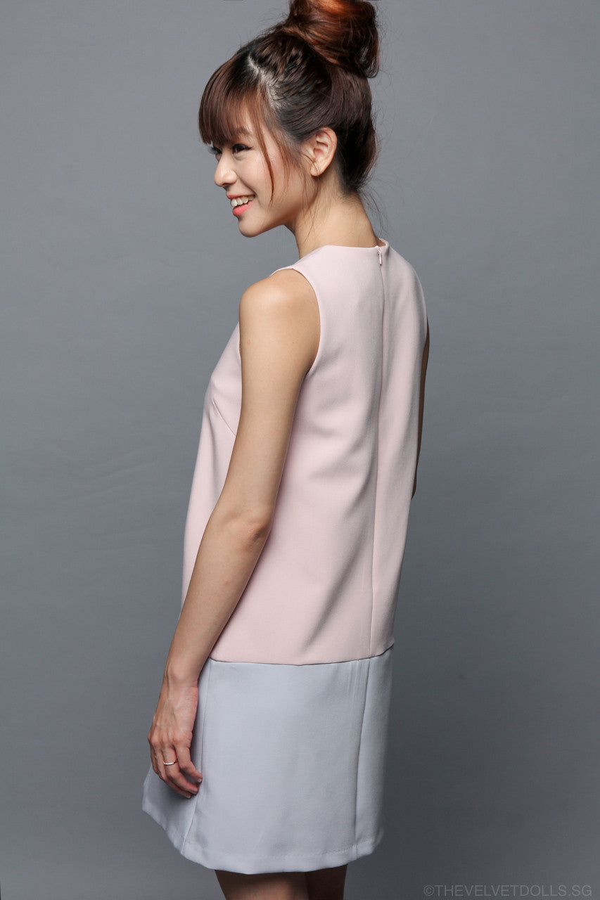 Odell Colorblock Shift Dress in Pink