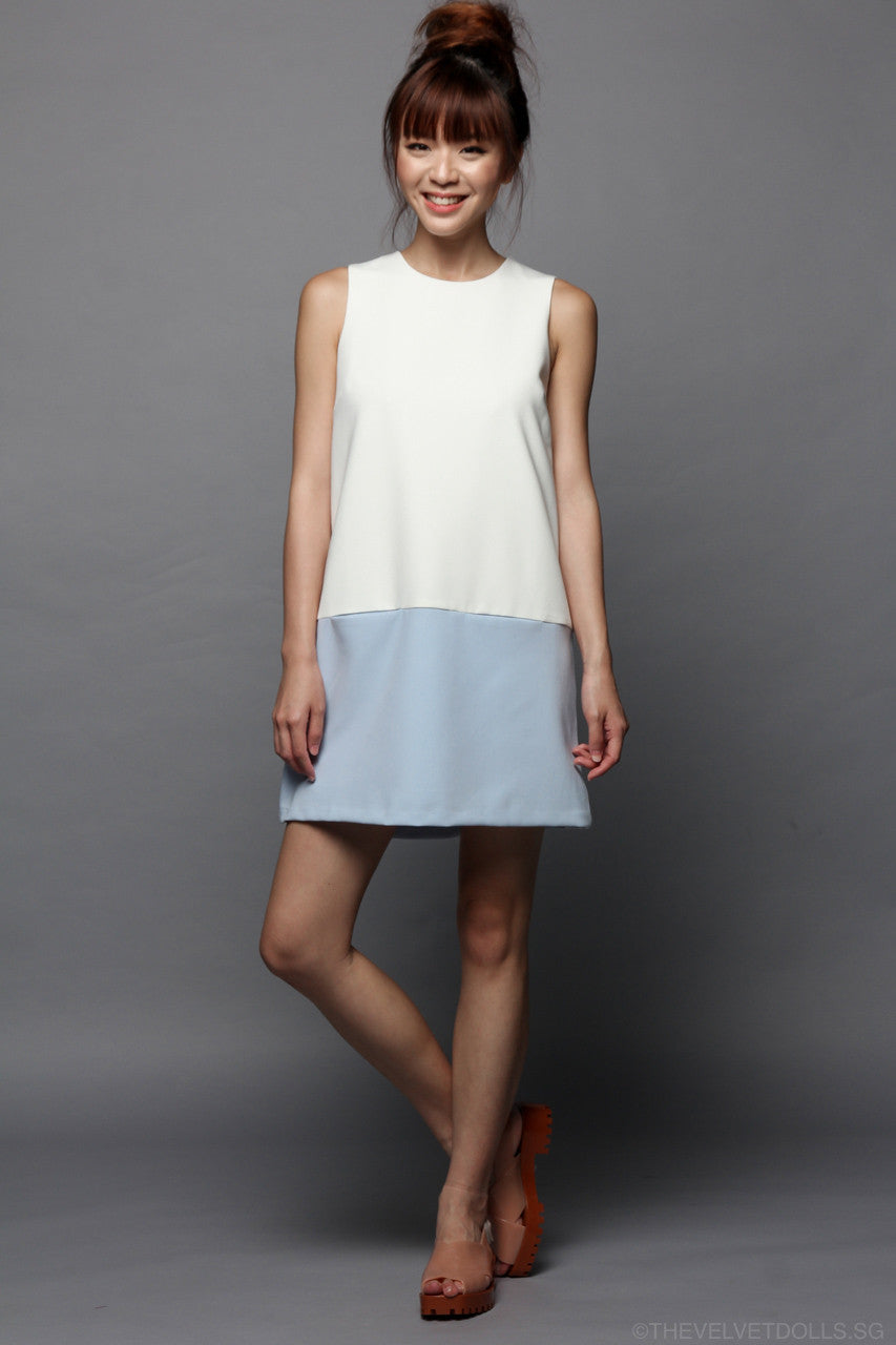 Odell Colorblock Shift Dress in Sky
