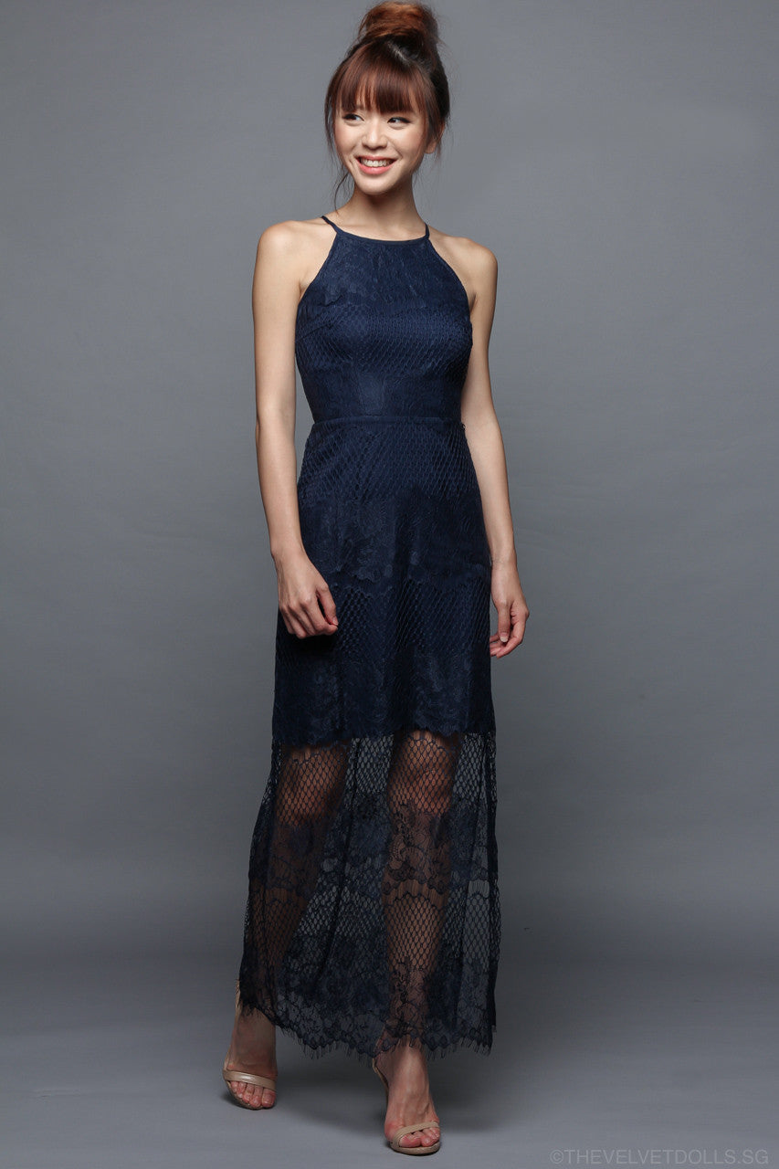 Rebecka Peekaboo Lace Maxi in Navy