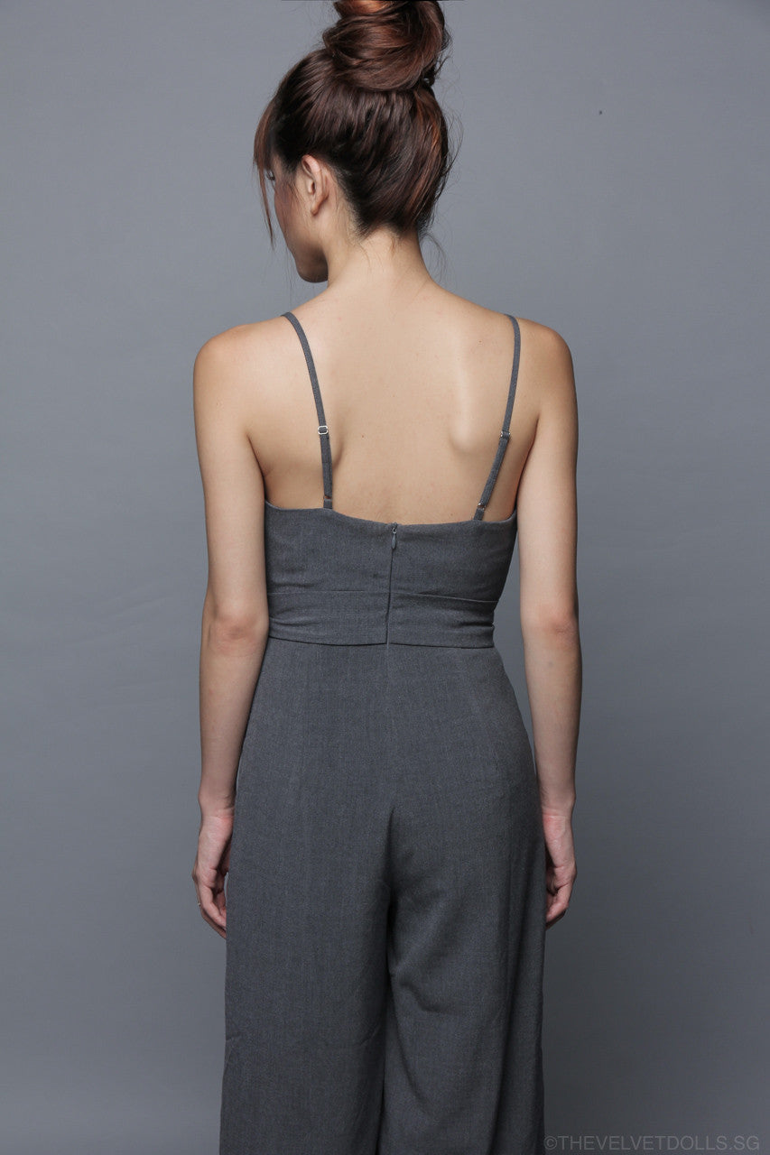 Restocked* Kylee Culottes Jumpsuit in Grey