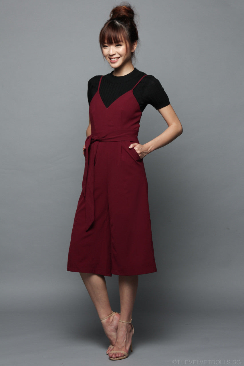 Kylee Culottes Jumpsuit in Wine