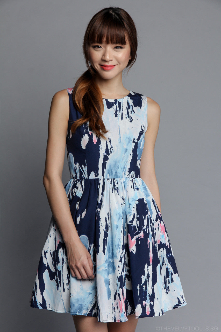 Da Vinci Abstract Dress in Navy