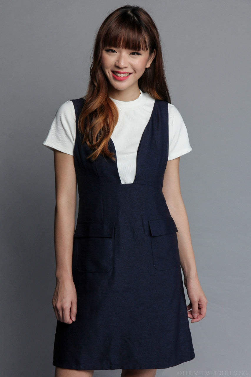 Brenda Two-Piece Pinafore in Navy