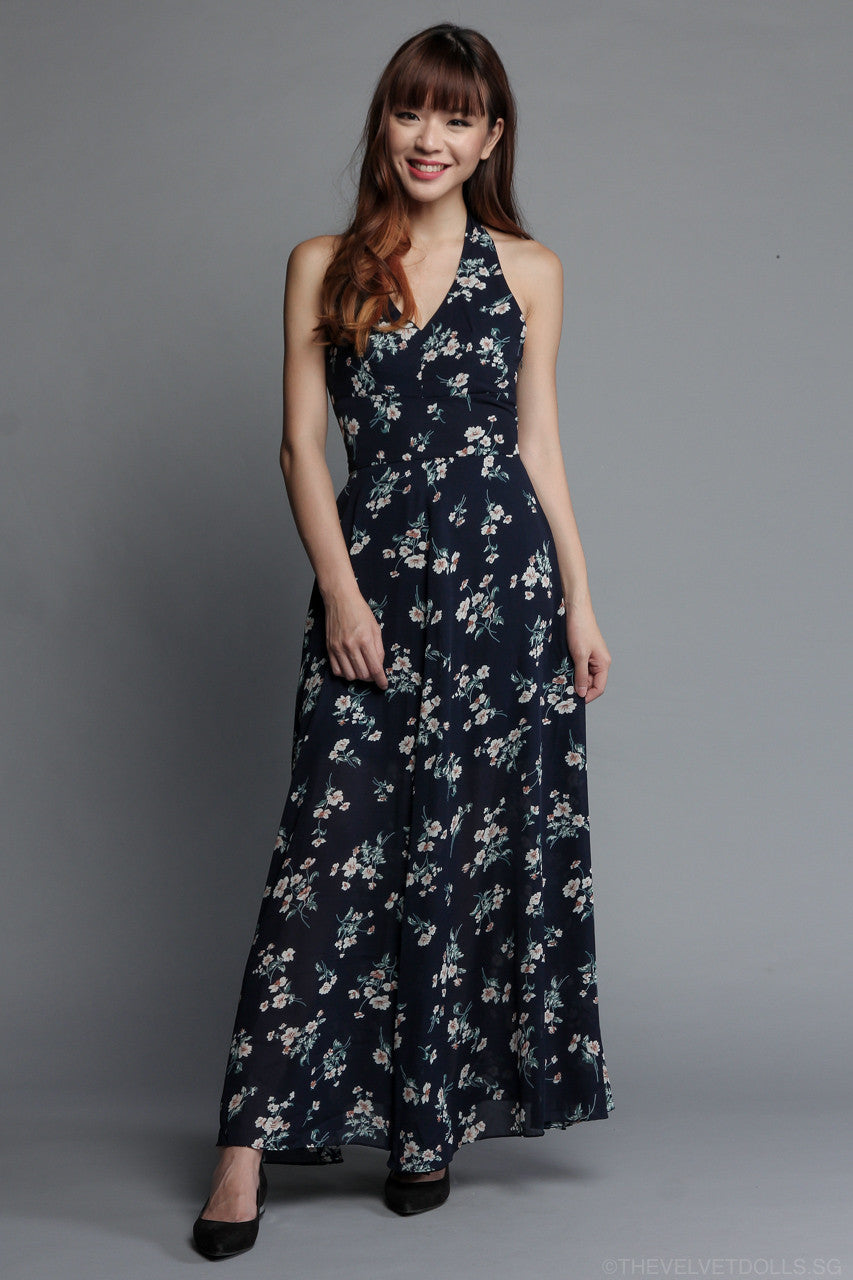 Fleur Halter Maxi Dress in Navy Floral