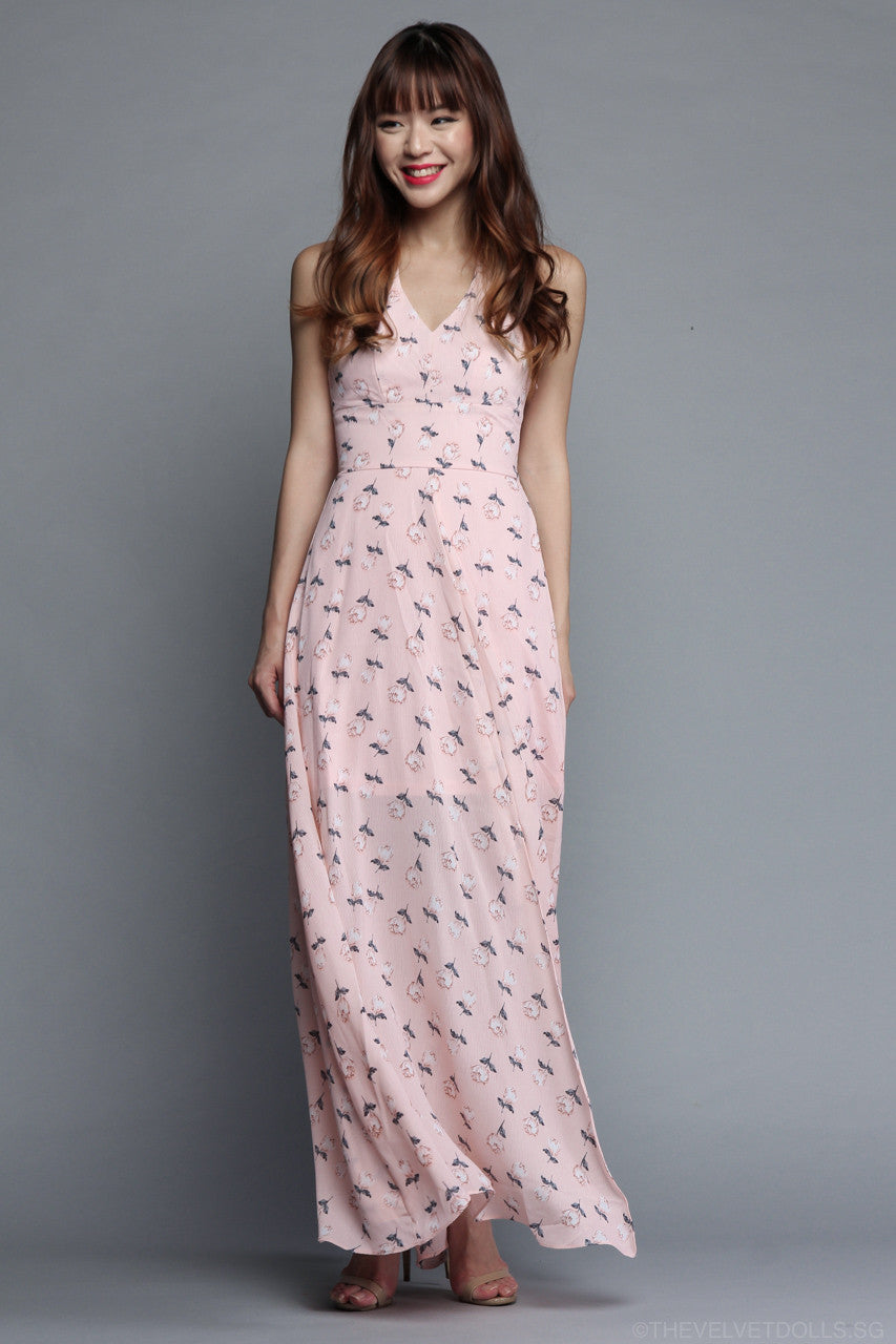 Fleur Halter Maxi Dress in Pink Floral