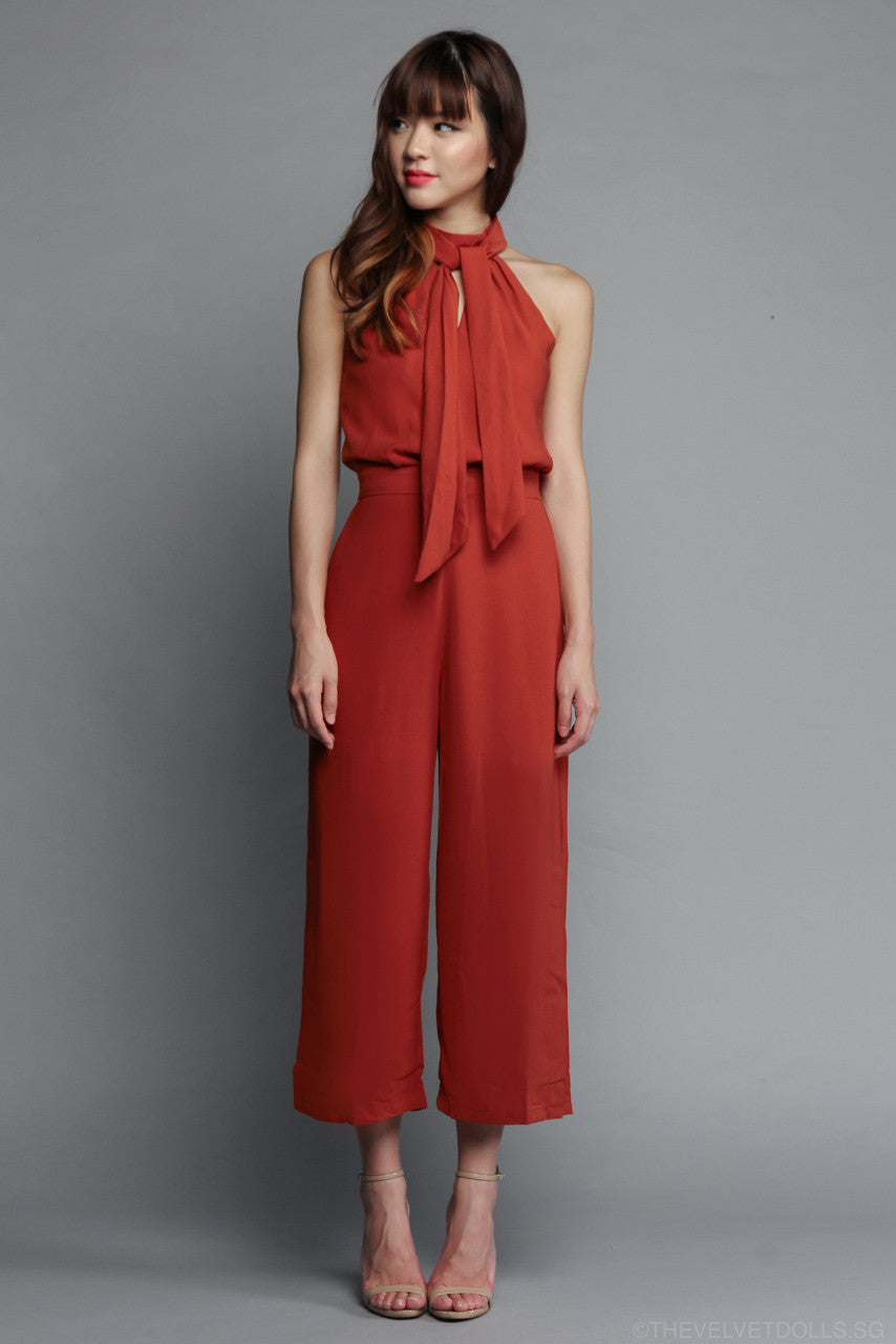 Marissa Keyhole Jumpsuit in Rust Orange