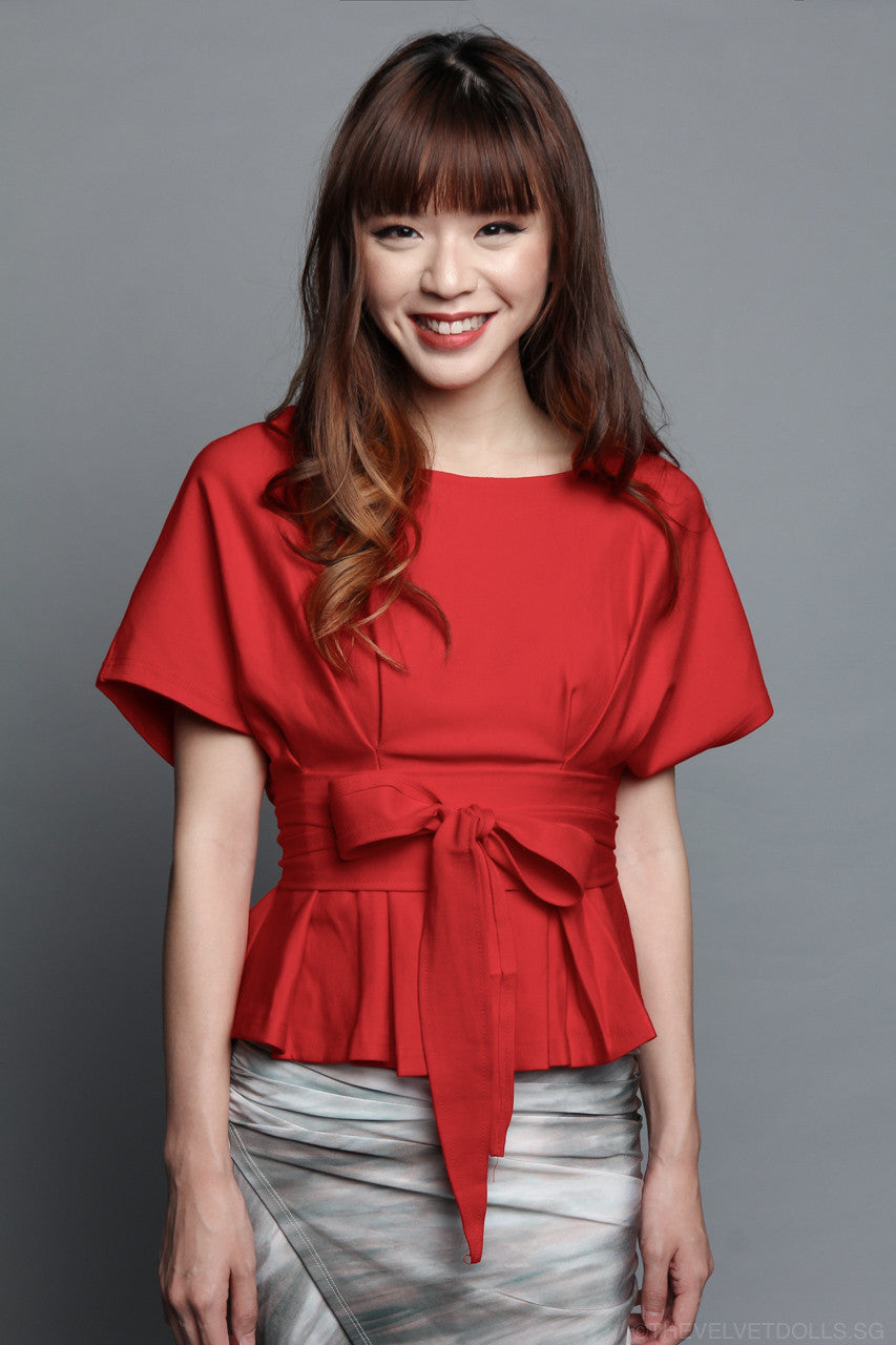 Aiko Obi Blouse in Red