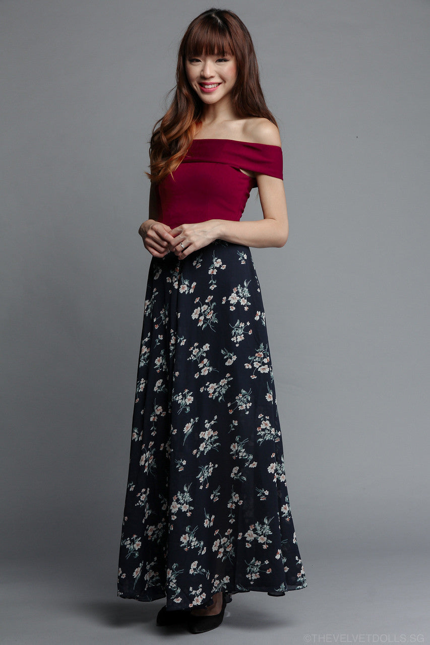 Naeva Off-Shoulder Top in Wine