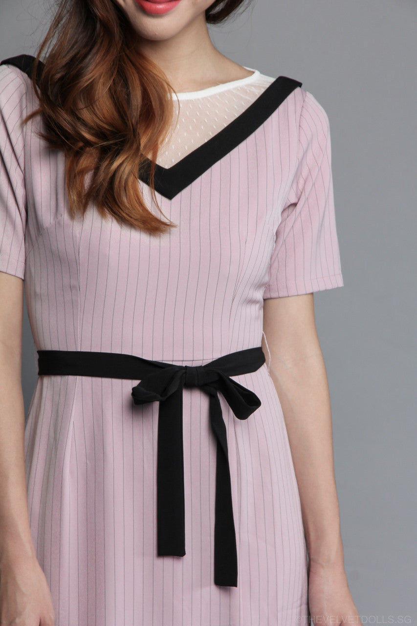 Mesh & Stripes Shift Dress in Pink