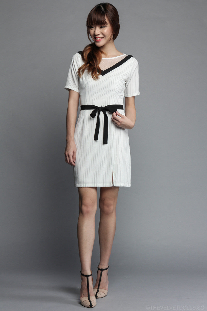 Mesh & Stripes Shift Dress in White