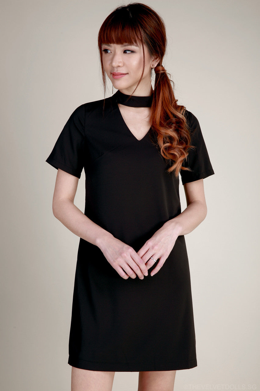 Zyla Choker Tee Dress in Black
