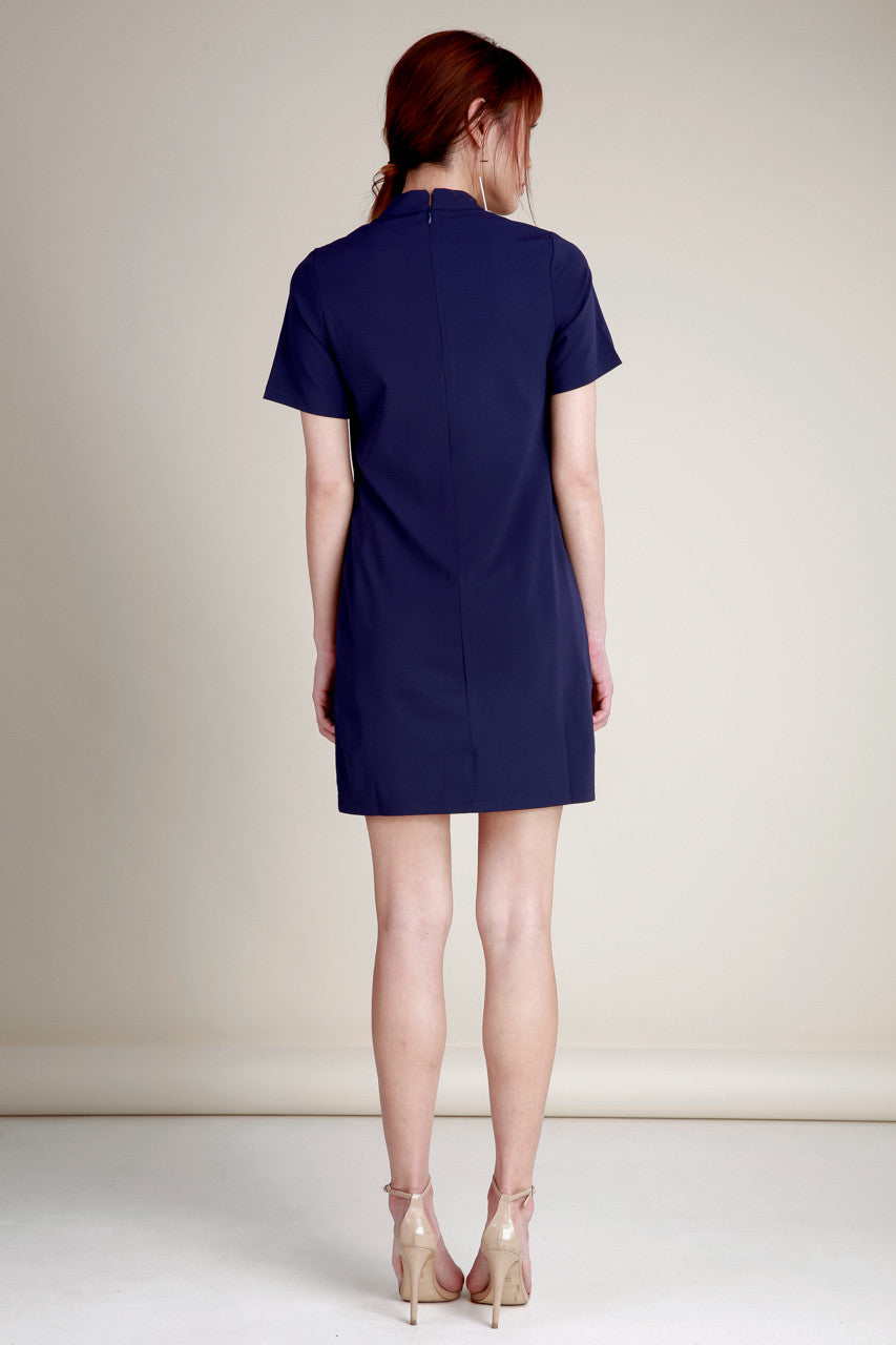Zyla Choker Tee Dress in Navy