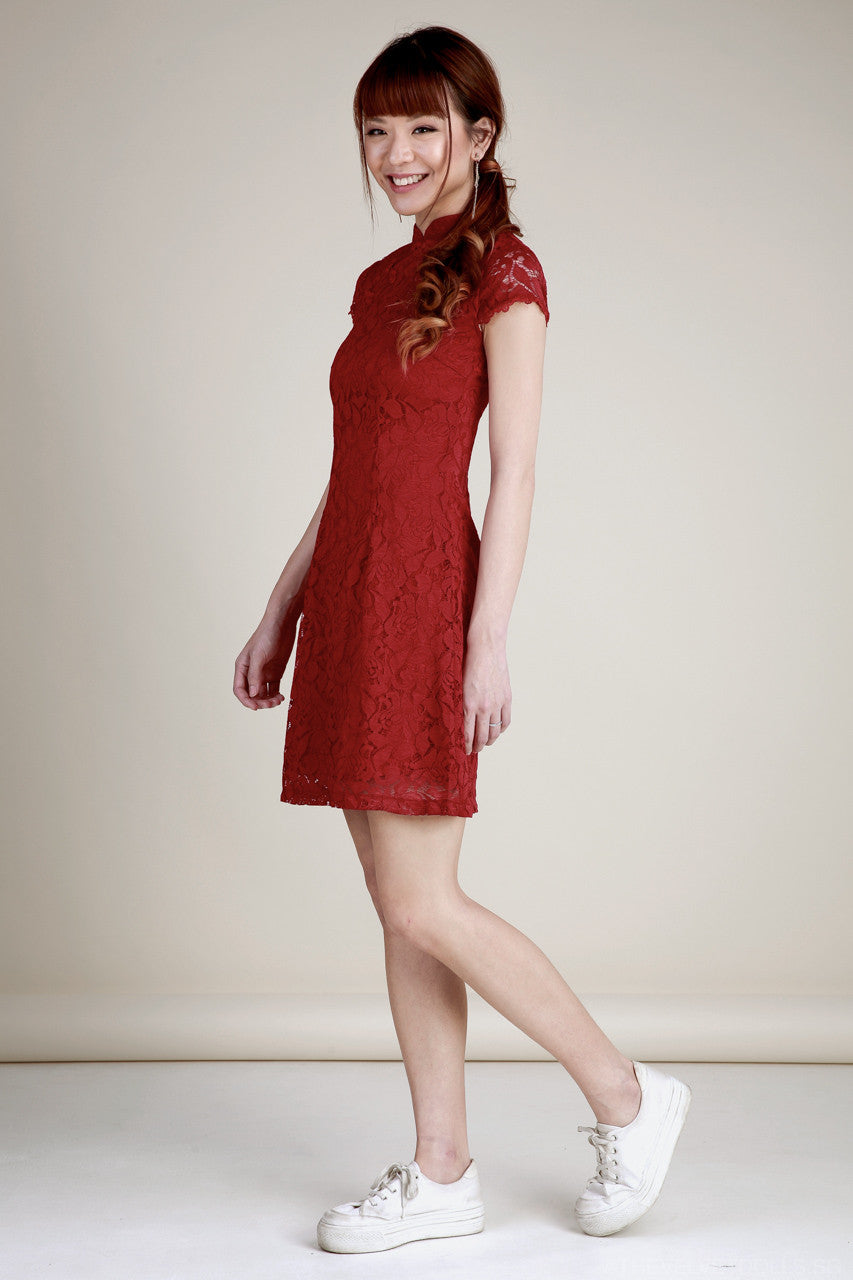 Lucy Lace Flare Cheongsam in Red