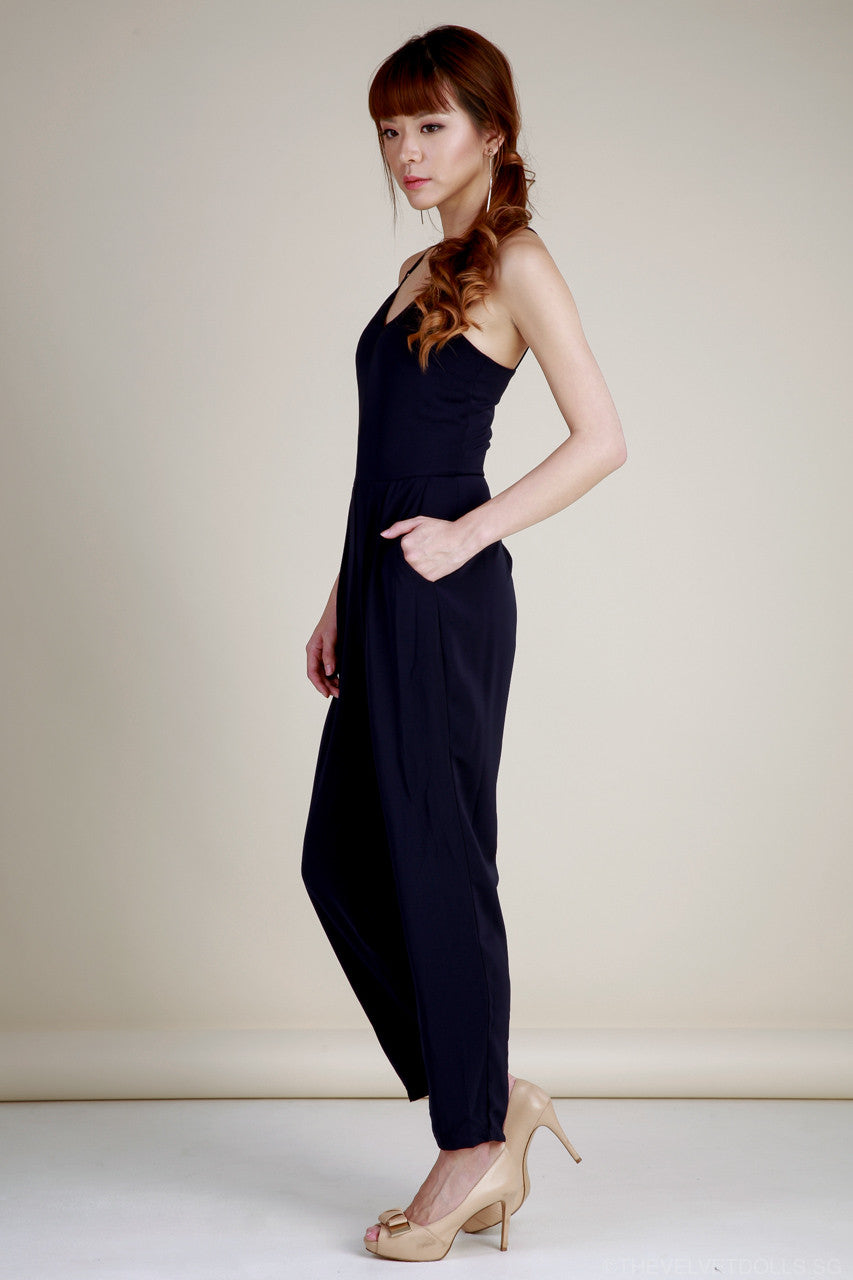 Lola Lattice Spag Jumpsuit in Navy