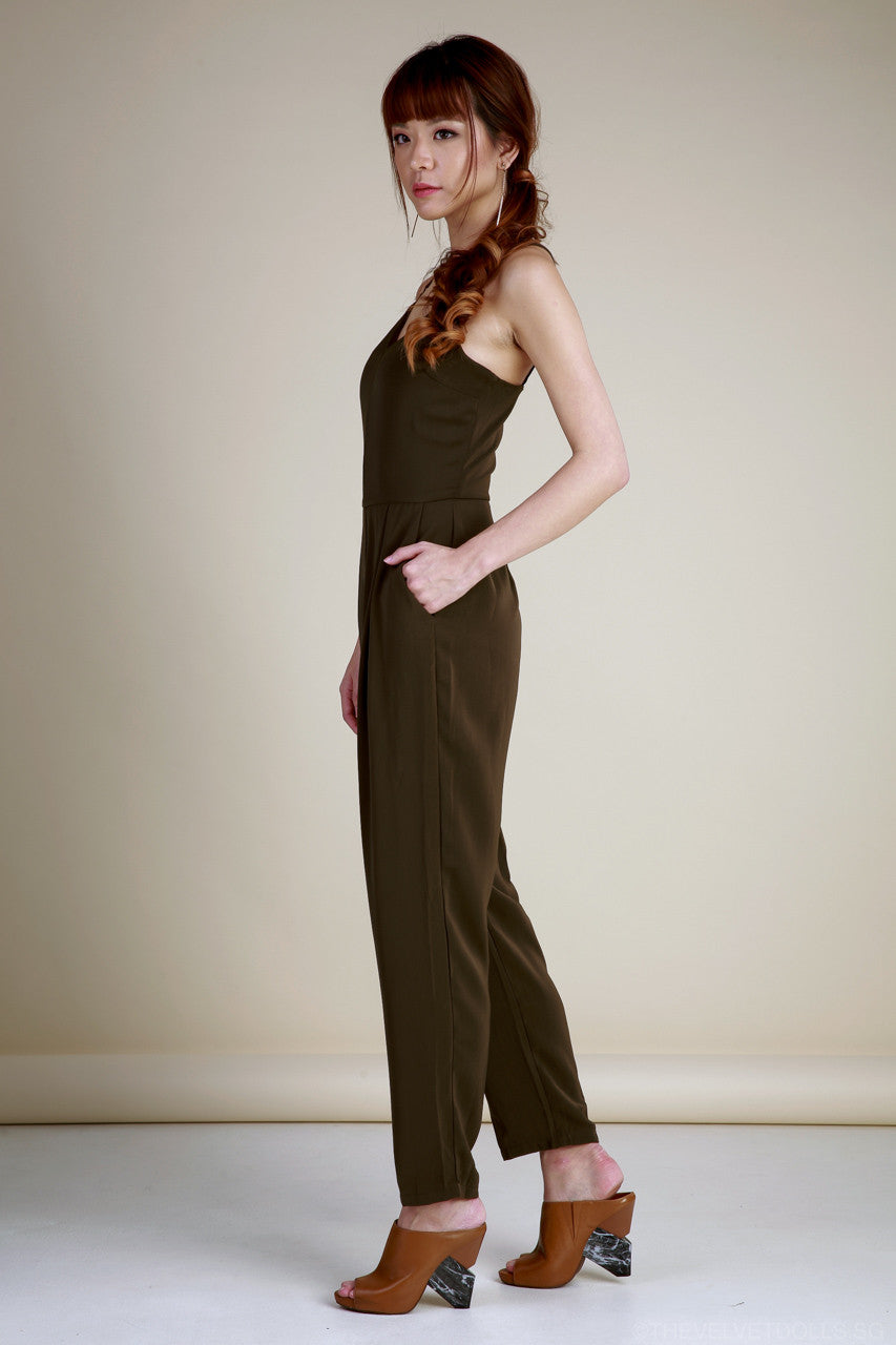 Lola Lattice Spag Jumpsuit in Olive
