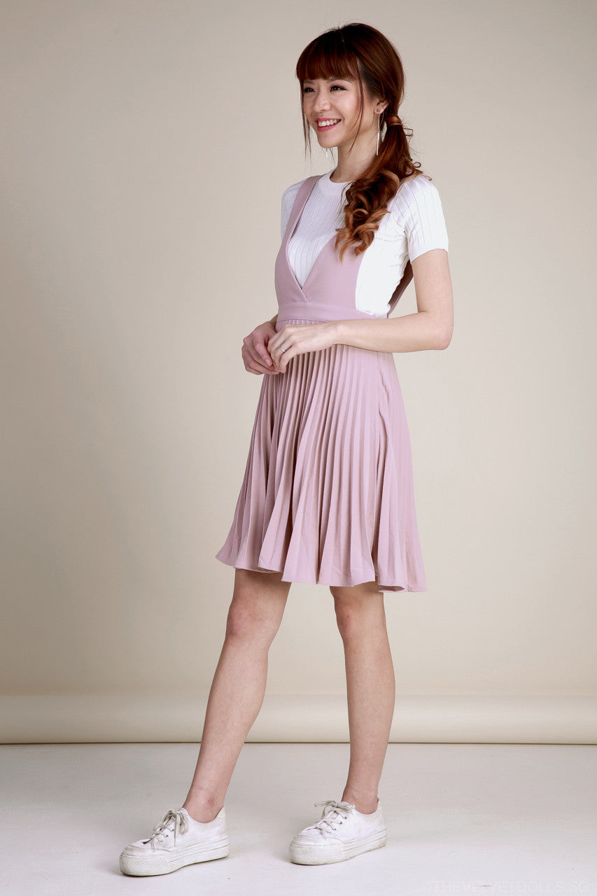 Knightsbridge Pleated Pinafore in Pink