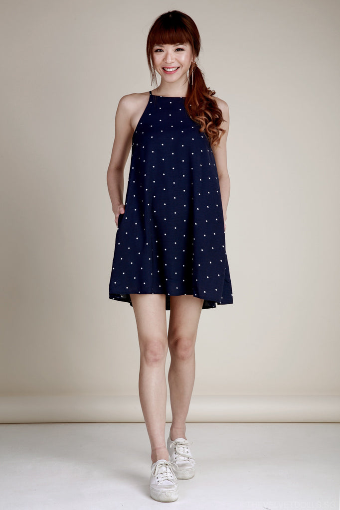 Restocked* Poppy Polkadot Trapeze Dress in Navy