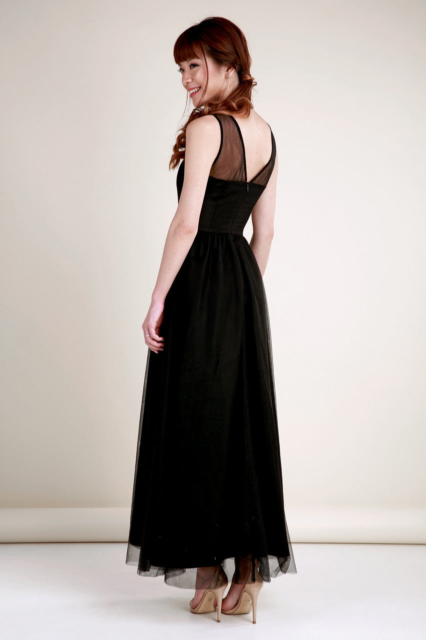 Serendipity Tulle Maxi Dress in Black