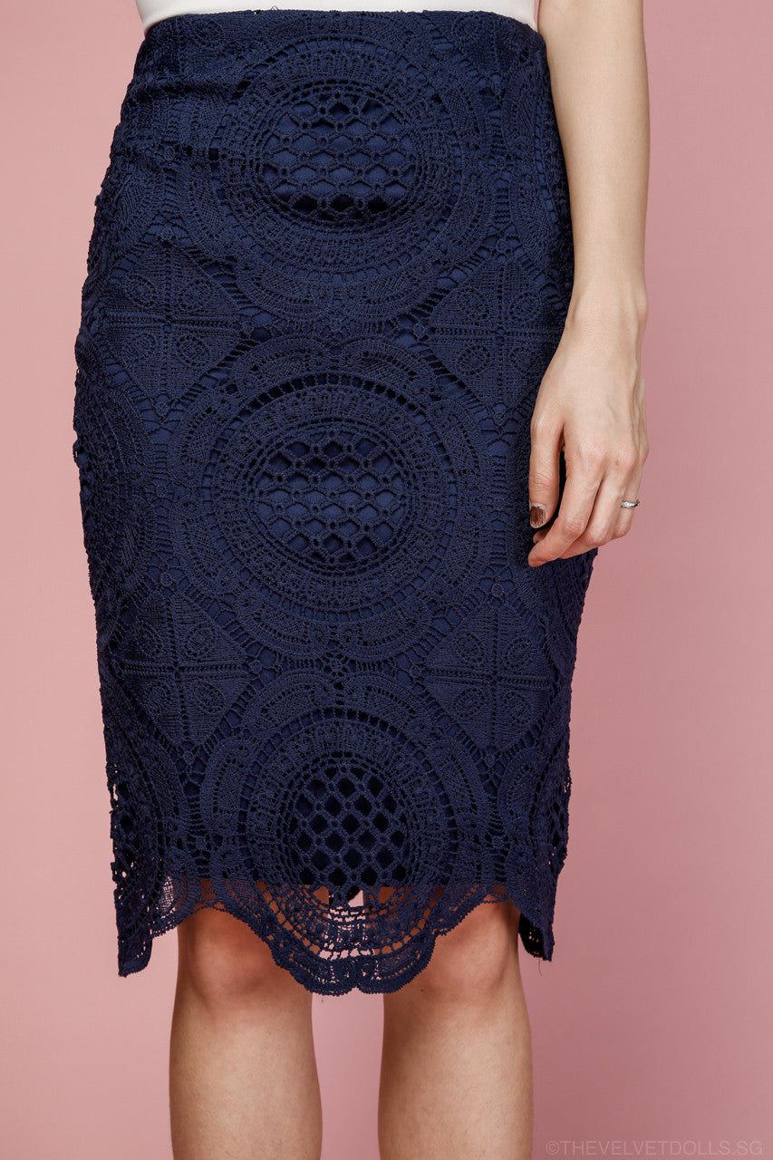 Nayla Crochet Pencil Skirt in Navy